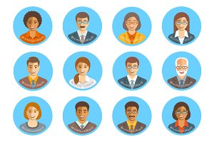 Business people flat avatars set