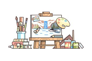 Easel and painting supplies