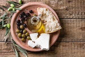 Olives with feta cheese and bread
