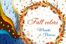 Fall colors. Wreaths & Patterns.