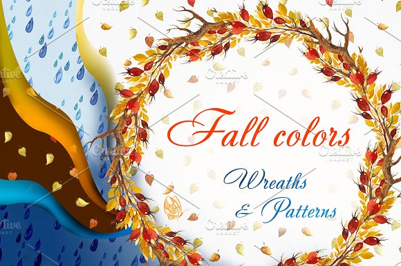 Fall colors. Wreaths & Patterns. - Patterns