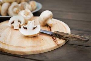 Fresh champignon mushhrooms