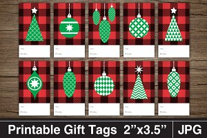 Buffalo Check Christmas Gift Tags