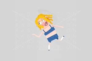 3d illustration. Running woman.