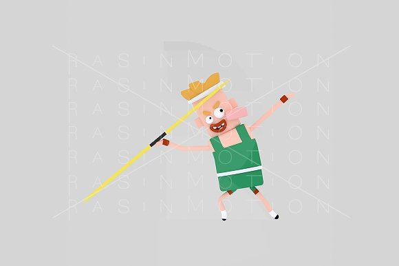 3d illustration. Javelin man. - Illustrations