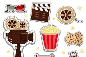Cinema patch icons vector