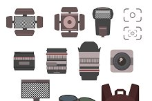 Photography kit icon vector set
