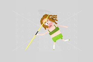 3d illustration. Javelin woman.
