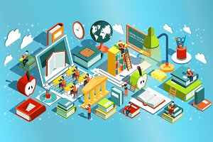 Online education isometric flat