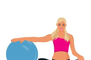 fitness woman with stability ball