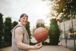 Smiling streetball player