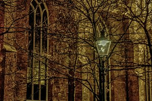 Old fashioned lantern in the night