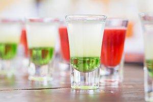 Row of shot drinks