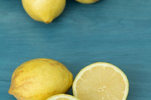Lemons on a blue wood