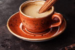 Espresso coffee cup with spices