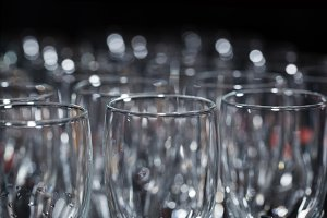 Row of champagne glasses