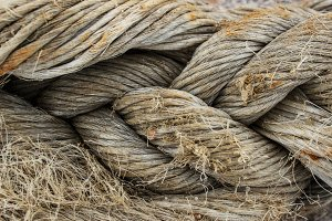 Rope close-up in the seaport
