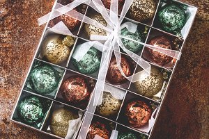 Christmas balls in a box