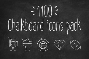 1100 Chalkboard vector icons pack