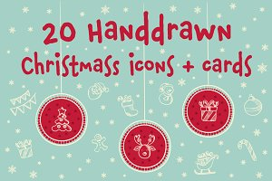 20 hand drawn Christmas icons set.
