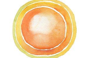 Circle yellow watercolor