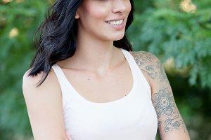 Beautiful brunette girl outside