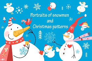 Set of graphic of snowmen