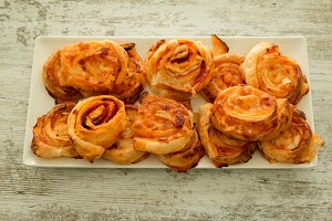 Savory puff pastries spiral