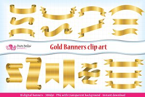 Gold Banners clipart