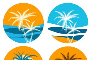 Palm paradise logo set