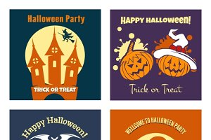 Halloween party flat posters