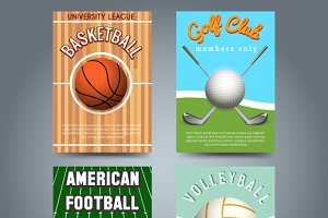 Sport brochure flyers template set