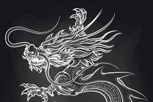 Chinese dragon on chalkboard