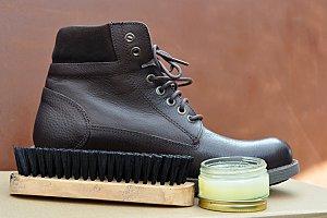 boots, cream and brush