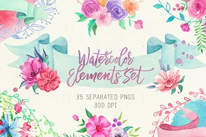 Watercolor Floral Element Set