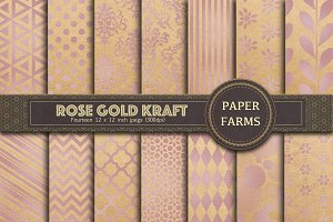 Rose gold kraft digital paper