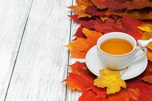 Hot tea  and leaves