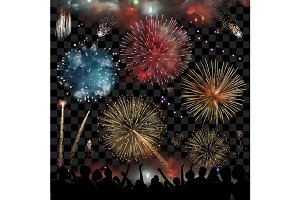 Holiday with fireworks, vector