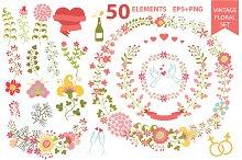 Romantic floral set . Vintage wreath