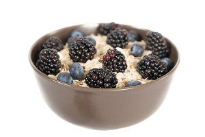 Porridge with blueberries with blackberries