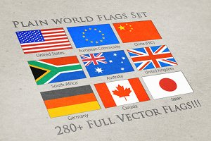 World Plain Vector Flags
