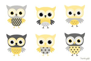 Cute owls clipart in grey and yellow