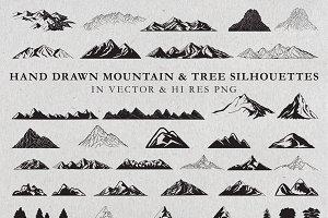 Hand Drawn Mountains and Trees