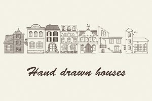 Set of Vector Hand Drawn Houses