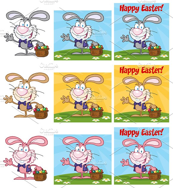Bunny With Easter Eggs. Collection  - Illustrations