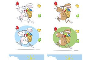 Easter Rabbit Running. Collection
