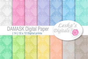 Damask Digital Patterns - Pastel