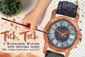 5 watercolor watches
