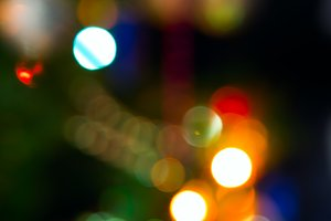 Christmas tree lights with bokeh effect