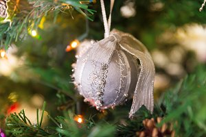 Christmas silver ball on tree
